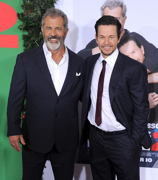 <p>See the resemblance? The <em>Daddy's Home 2</em> co-stars posed together at the premiere of their new flick Sunday at Regency Village Theatre in L.A. Gibson takes on a rare comedy role in the sequel to 2015's <em>Daddy's Home</em>, playing Mark's dad. (Photo: Gregg DeGuire/WireImage) </p>