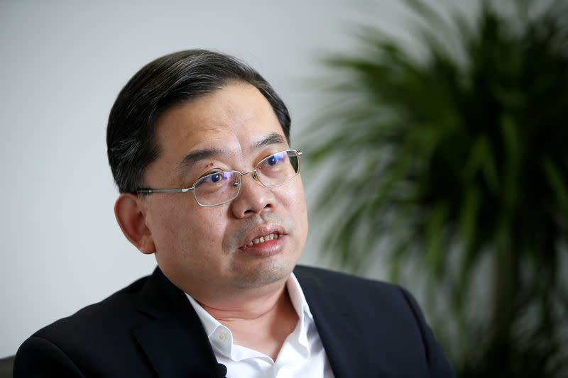Yin Jihui, director of the Tianjin Industry and Information Technology Bureau, speaks during an interview with Reuters in Tianjin