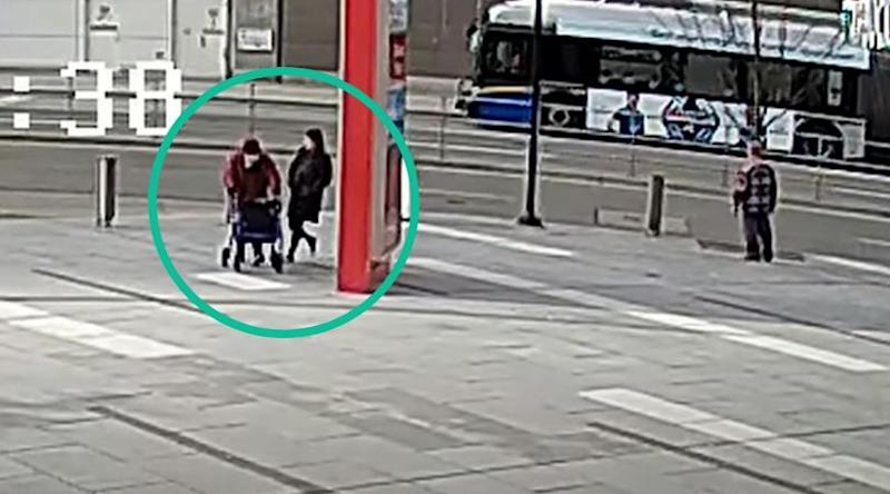 RCMP released images and video of a suspect who tripped a senior as she walked near the Metrotown station in Burnaby, B.C. (Photo: B.C. RCMP)