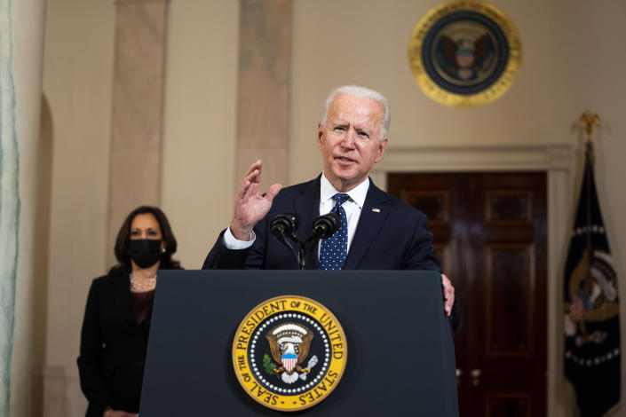 President Joe Biden with Vice President Kamala Harris looking on makes remarks about the Derek Chauvin Trial, at the White House, Tuesday April, 20, 2021. (Doug Mills/The New York Times via Getty Images)