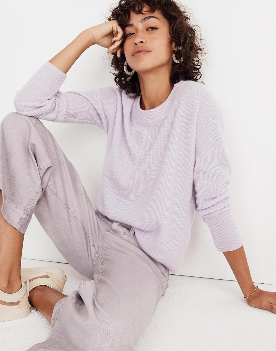 "Still haven't jumped on the lavender train? There's no better time—this super soft cashmere sweater from Madewell is 30% off (and going fast). This, and four other colors are available up to size 3XL. $128, Madewell. <a href=""https://www.madewell.com/cashmere-sweatshirt-99105278797.html"" rel=""nofollow noopener"" target=""_blank"" data-ylk=""slk:Get it now!"" class=""link rapid-noclick-resp"">Get it now!</a>"