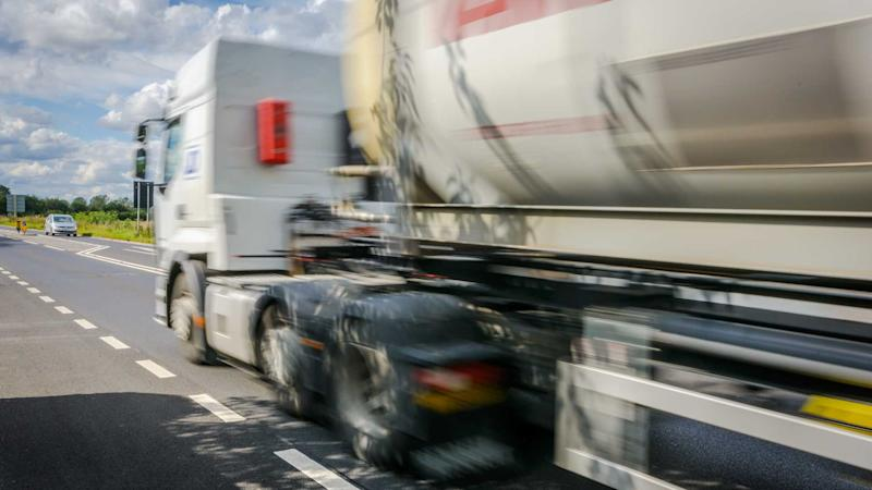 HGV passing by on the road