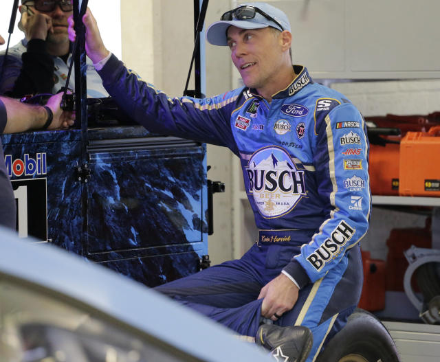 Kevin Harvick waits in the garage for a NASCAR Cup Series auto race practice to begin on Friday, Nov. 15, 2019, at Homestead-Miami Speedway in Homestead, Fla. Harvick is one of four drivers racing for the series championship. (AP Photo/Terry Renna)