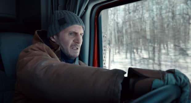 This image released by Netflix shows Liam Neeson in a scene from The Ice Road, which was shot in Manitoba last year. (Netflix via AP - image credit)