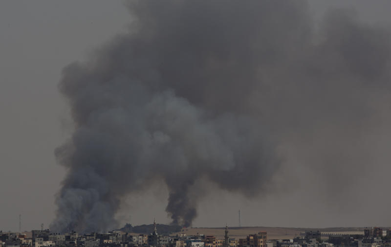 "Smoke rises from fires on Israeli farmland caused by arson balloons launched from Gaza City, Wednesday, May 15, 2019. Palestinians are marking the 71st anniversary of their mass displacement during the 1948 war around Israel's creation. Demonstrations were held across the Israeli-occupied West Bank and the Gaza Strip on Wednesday to mark what the Palestinians call the ""nakba,"" or ""catastrophe."" (AP Photo/Hatem Moussa)"