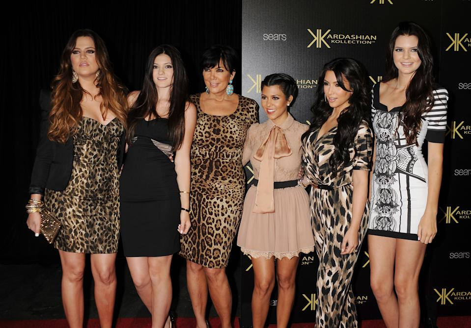 Khloe Kardashian, Kylie Jenner, Kris Jenner, Kourtney Kardashian, Kim Kardashian and Kendall Jenner attend the Kardashian Kollection Launch Party at The Colony on August 17, 2011 in Hollywood, California.