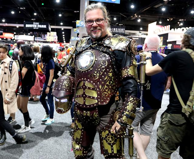 <p>Cosplayer dressed as Iron Man 1889, inspired by <i>Iron Man,</i> at Comic-Con International on July 21, 2018, in San Diego. (Photo: Angela Kim/Yahoo Entertainment) </p>