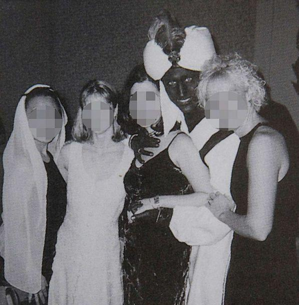 PHOTO: Canadian Prime Minister Justin Trudeau poses with others during an 'Arabian Nights' party when he was a 29-year-old teacher at the West Point Grey Academy in Vancouver, Canada, in this photo published in the academy 2000-2001 yearbook. (The View Yearbook via Reuters)