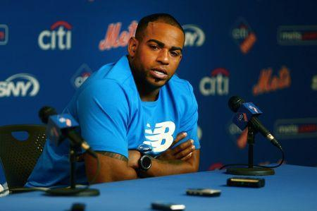 FILE PHOTO: Jul 25, 2018; New York City, NY, USA; New York Mets outfielder Yoenis Cespedes addresses the media in a press conference announcing he will undergo surgery prior to the game between the the San Diego Padres and the New York Mets at Citi Field. Mandatory Credit: Andy Marlin-USA TODAY Sports