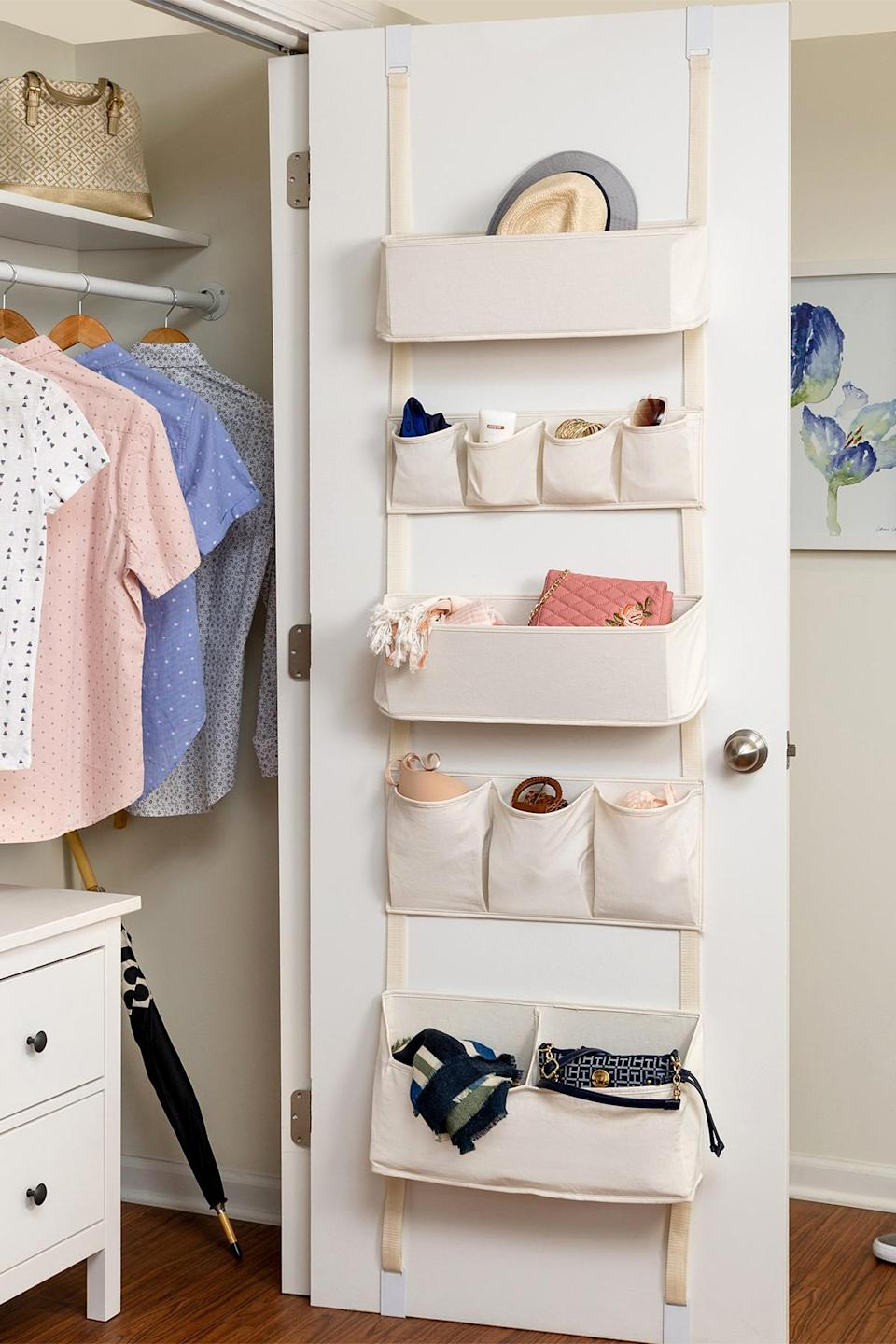 "<p>Take advantage of deeper closets with an over-the-door organizer that lets you keep small items organized—and out of sight. From jewelry, scarves, and socks to makeup, sunglasses, and wristlets, pockets in varying sizes offer space for all of your favorite accessories.</p> <p><strong><em>Shop Now:</em></strong><em> Honey-Can-Do Over the Door Hanging Organizer, $49.97, <a href=""https://www.pjtra.com/t/8-10134-131940-120793?sid=MSL21DormRoomStorageIdeasThatMaketheMostofYourSmallSpacesbamseyStoGal7846410202007I&url=https%3A%2F%2Fwww.nordstromrack.com%2Fshop%2Fproduct%2F3157076%3Fcolor%3DNATURAL"" rel=""nofollow noopener"" target=""_blank"" data-ylk=""slk:nordstromrack.com"" class=""link rapid-noclick-resp"">nordstromrack.com</a>.</em></p>"