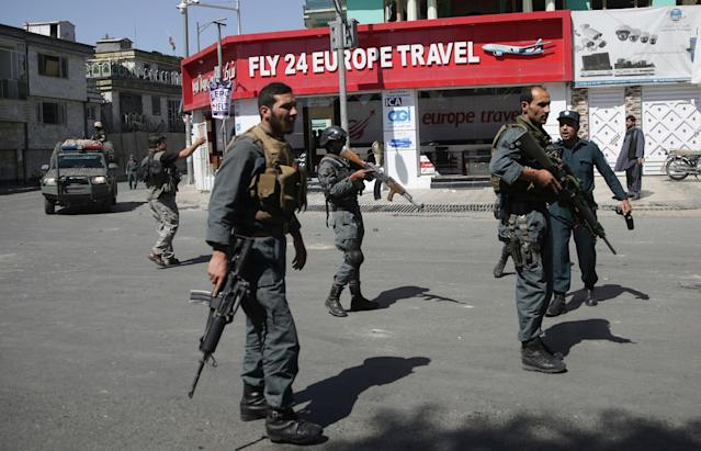 <p>Security forces stand near the site of a suicide attack in Kabul, Afghanistan, Wednesday, May 31, 2017. (AP Photos/Massoud Hossaini) </p>