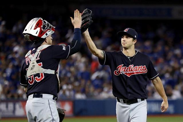 Ryan Merritt didn't look like a rookie during Game 5 of the ALCS. (Getty Images/Elsa)