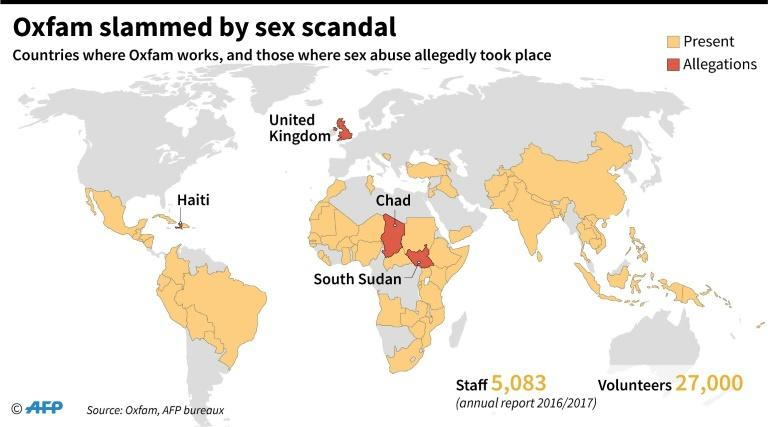 Map locating countries where the British charity Oxfam works, and four where Oxfam staff have been accused of sexual abuse