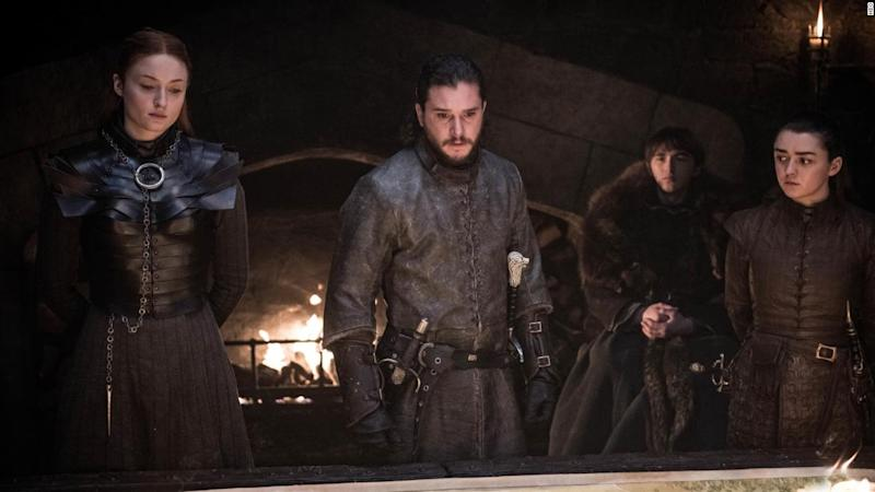 Sophie Turner, Kit Harrington, Isaac Hempstead-Wright and Maisie Williams in Game Of Thrones