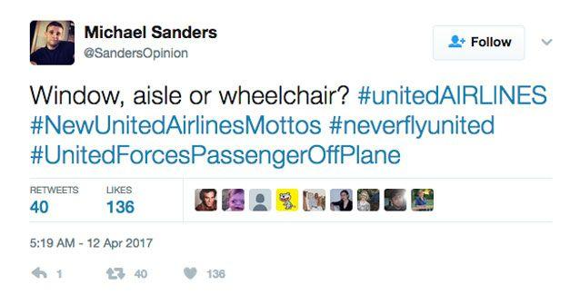 Twitter users have come up with some creative new mottos for United Airlines. Source: Twitter