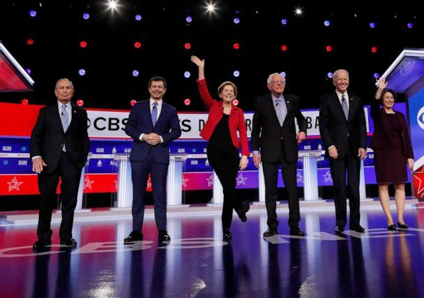 PHOTO: Democratic 2020 U.S. presidential candidates take the stage for the tenth Democratic 2020 presidential debate at the Gaillard Center in Charleston, S.C., Feb. 25, 2020. (Randall Hill/Reuters, FILE)