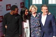 (left to right) Tosin Cole, Mandip Gill, Jodie Whittaker and Bradley Walsh attending the Doctor Who premiere held at The Light Cinema at The Moor, Sheffield. Picture date: Monday September 24, 2018. See PA Story SHOWBIZ DrWho. Photo credit should read: Danny Lawson/PA Wire (Photo by Danny Lawson/PA Images via Getty Images)