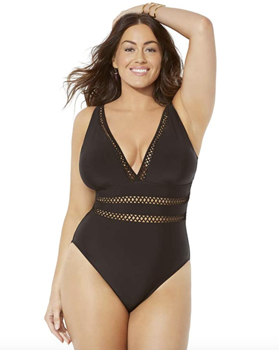 "<p><strong>SWIMSUITSFORALL</strong></p><p>amazon.com</p><p><strong>$40.68</strong></p><p><a href=""https://www.amazon.com/dp/B07KQCZF1S?tag=syn-yahoo-20&ascsubtag=%5Bartid%7C10072.g.26359023%5Bsrc%7Cyahoo-us"" rel=""nofollow noopener"" target=""_blank"" data-ylk=""slk:Shop Now"" class=""link rapid-noclick-resp"">Shop Now</a></p><p>""With built-in soft bra cups and Power Mesh tummy control, this suit is sexy and super flattering,"" says Nazzaro. Particularly for ladies with a big chest, this bestseller will definitely add some va va voom to your beach vacation. </p>"
