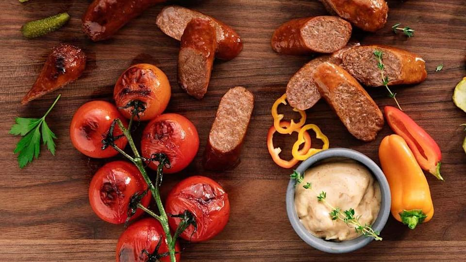 A Beyond Meat sausage charcuterie board