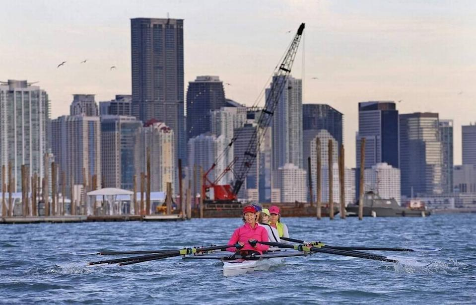 Rowers at the Miami Marine Stadium basin practice navigating around temporary pilings and docks set up for the Miami International Boat Show in 2018.