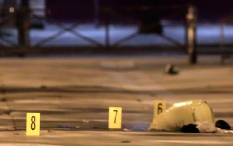 Evidences are seen on the pavement after seven people were wounded in knife attack downtown Paris - Credit: GONZALO FUENTES/Reuters