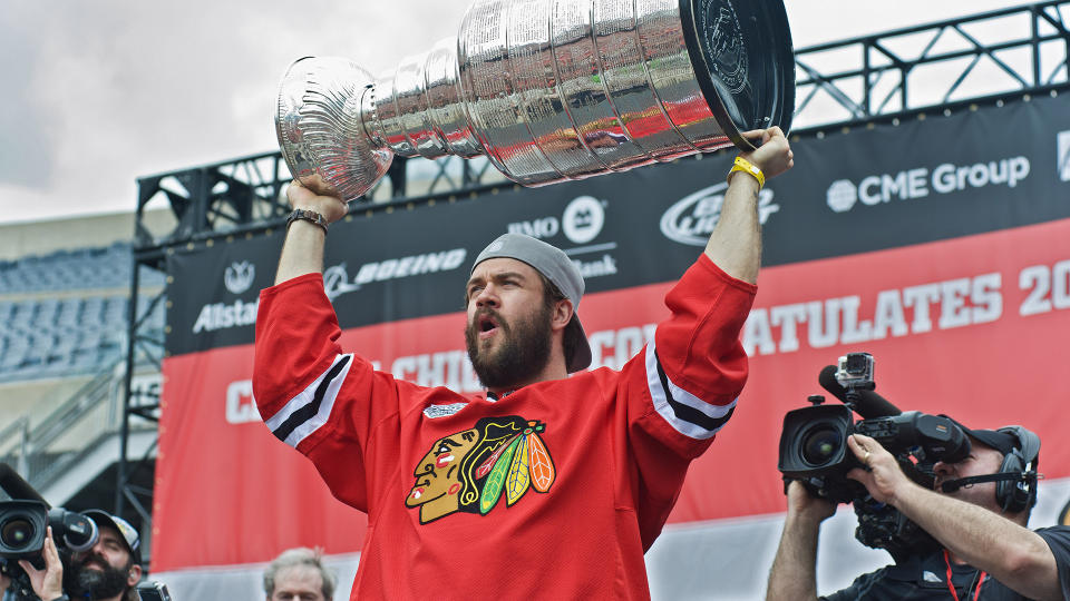 CHICAGO, IL - JUNE 18: Brent Seabrook attends Chicago's Celebratory Parade & Rally Honoring The 2015 Stanley Cup Champions, The Chicago Blackhawks on June 18, 2015 in Chicago, Illinois. (Photo by Timothy Hiatt/WireImage)