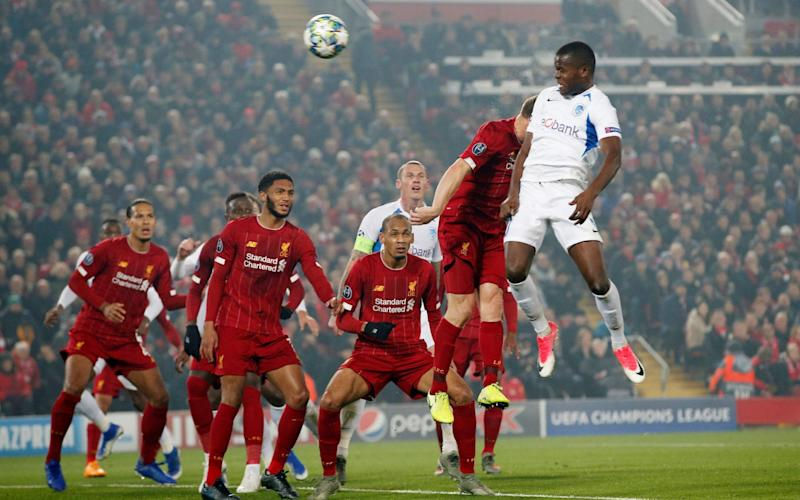 Mbwana Samatta scores for Genk against Liverpool in the Champions League  - Reuters