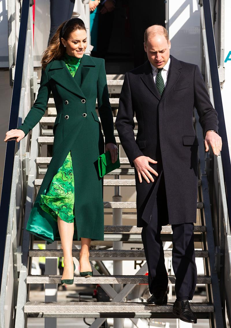 Prince William and the Duchess of Cambridge arrive at Dublin Airport on Tuesday. (Photo: Pool via Getty Images)