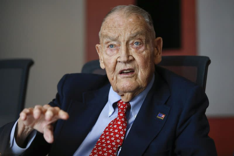 File photo of Bogle founder and retired CEO of The Vanguard Group, speaks during the Global Wealth Management Summit in New York