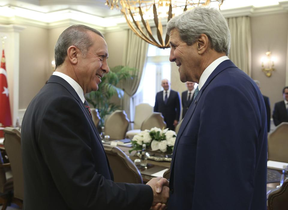 U.S. Secretary of State John Kerry and Turkey's President Tayyip Erdogan at a meeting in Ankara.