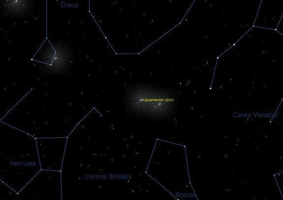 The Quadrantid meteor shower should give skywatchers looking up at the Eastern sky (shown here) a good show when it peaks this week.