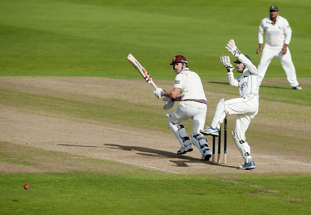 Somerset's Nick Compton bats during the LV= County Championship, Division One match at Trent Bridge, Nottingham.