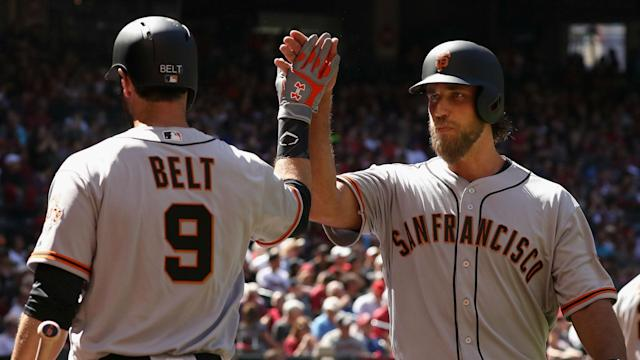 In the seventh inning, San Fran Giants ace Madison Bumgarner became the first pitcher ever to hit two home runs on opening day.