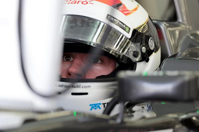 Adrian Sutil is driving at Bahrain without a water bottle to cut weight from his car