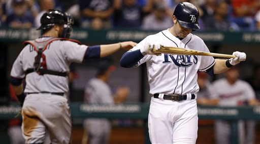 Tampa Bay Rays' Evan Longoria, right, reacts after striking out as Minnesota Twins catcher Ryan Doumit returns to the dugout at the end of the fifth inning of a baseball game on Wednesday, July 10, 2013, in St. Petersburg, Fla. (AP Photo/Mike Carlson)