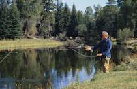 <p>Jimmy Carter fly fishes on a private trout stream while on vacation in the Rocky Mountains in 1978. </p>
