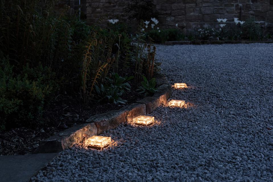 solar powered lights in a path