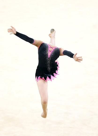 Francesca Jones of Wales performs in the ball dicipline during the individual apparatus final at the IG Sports Complex during day eleven of the 2010 Commonwealth Games on October 14, 2010 in Delhi, India. (Julian Finney/Getty Images)