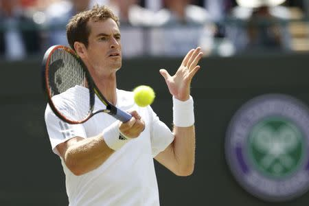Andy Murray of Britain hits a return to Blaz Rola of Slovenia during their men's singles tennis match at the Wimbledon Tennis Championships, in London