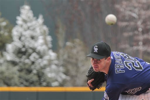 Colorado Rockies starting pitcher Jeff Francis (26) throws during the first inning in the first baseball game of a doubleheader against the Atlanta Braves, Tuesday, April 23, 2013, in Denver. (AP Photo/Barry Gutierrez)