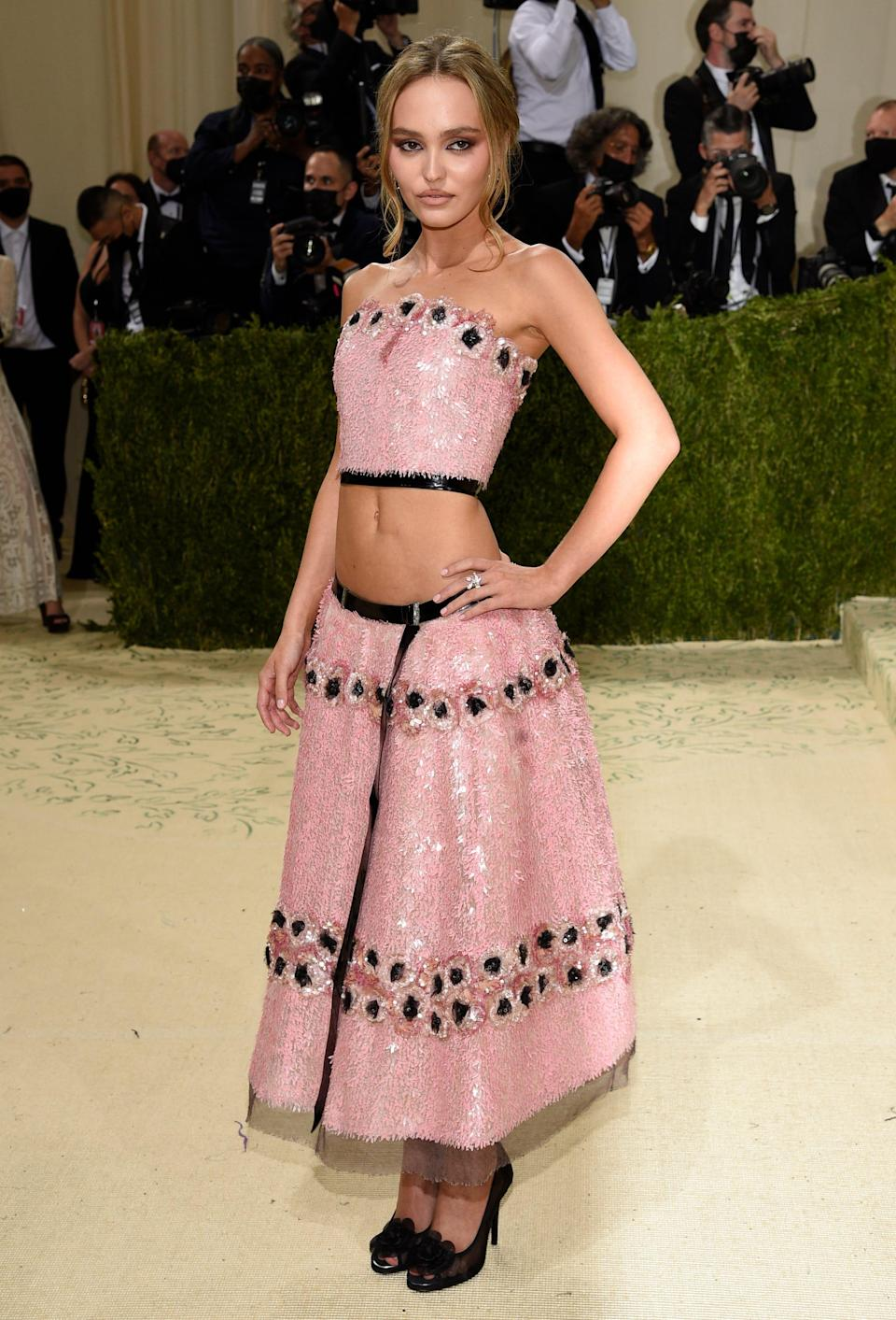 """Lily-Rose Depp attends The Metropolitan Museum of Art's Costume Institute benefit gala celebrating the opening of the """"In America: A Lexicon of Fashion"""" exhibition on Monday, Sept. 13, 2021, in New York."""