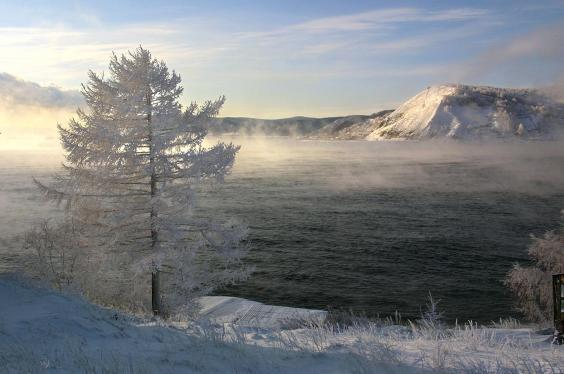 A view of Lake Baikal taken on 11 December, 2000 from the village of Listvyanka. (ALEXANDER NEMENOV/AFP/Getty Images)