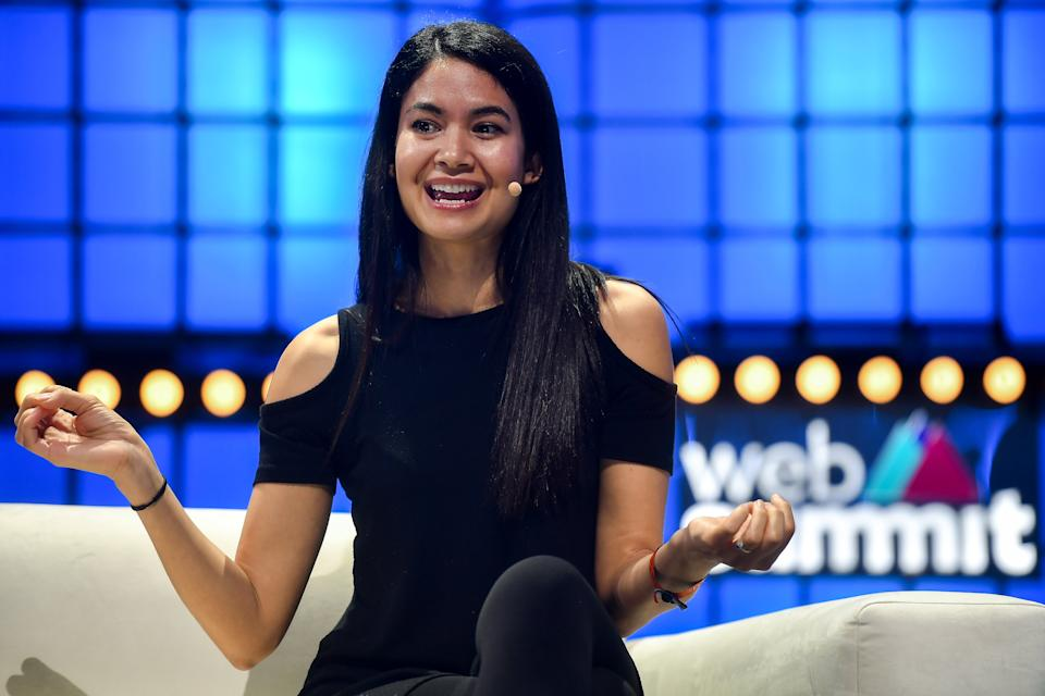 LISBON , PORTUGAL - 5 November 2019; Melanie Perkins, Co-founder & CEO, Canva, on Centre Stage during the opening day of Web Summit 2019 at the Altice Arena in Lisbon, Portugal. (Photo By David Fitzgerald/Sportsfile for Web Summit via Getty Images)