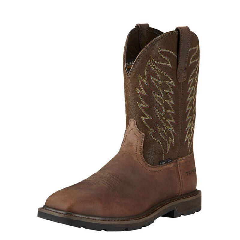 """<p><strong>Ariat</strong></p><p>ariat.com</p><p><strong>$149.95</strong></p><p><a href=""""https://go.redirectingat.com?id=74968X1596630&url=https%3A%2F%2Fwww.ariat.com%2FP13325_M_FOO.html&sref=https%3A%2F%2Fwww.esquire.com%2Fstyle%2Fmens-fashion%2Fg12486892%2Fbest-work-boots-men%2F"""" rel=""""nofollow noopener"""" target=""""_blank"""" data-ylk=""""slk:Shop Now"""" class=""""link rapid-noclick-resp"""">Shop Now</a></p><p>The cowboy boot isn't just about style—at least in the hands of Ariat. The brand favored by ranchers and those working on rigs is offering a a pair built to withstand electric hazards and oil spills. The steel toes and Duratread outsoles assure it. <br></p>"""