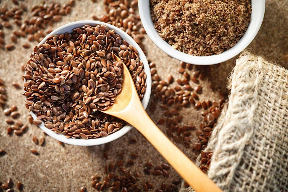 <p>Flaxseed is the most potent plant source of omega-3 fatty acids. Studies indicate that adding flaxseed to your diet can help reduce the development of heart disease by 46 percent. It helps keep red blood cells from clumping together and forming clots that can block arteries. Sprinkle one to two tablespoons of flaxseeds a day on your cereal, salad, or yogurt. Buy it pre-ground, and keep it refrigerated. </p>