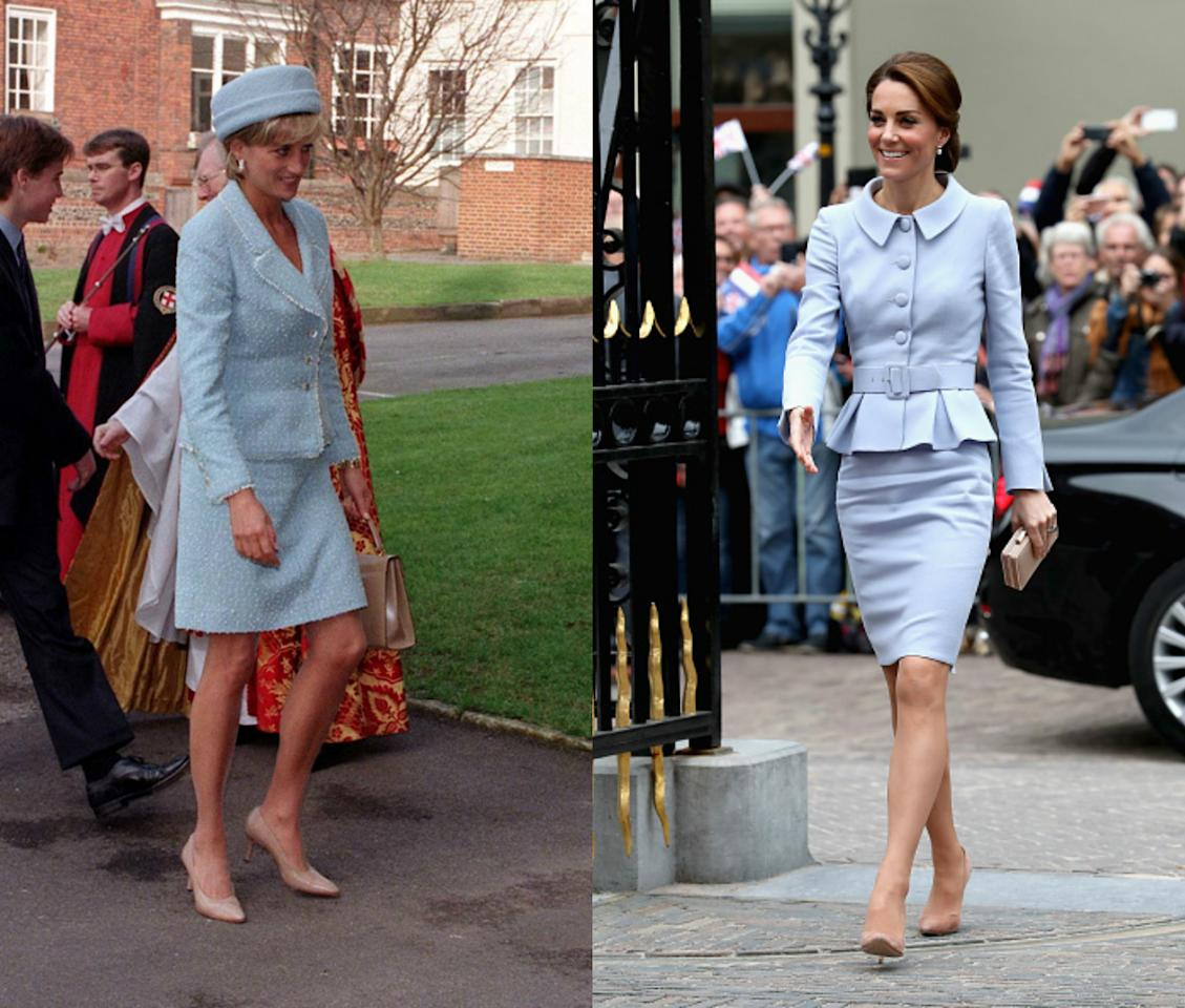<p>For her first solo visit earlier this year the Duchess of Cambridge wore a vintage style pale blue suit by Catherine Walker, paired with nude L.K Bennett shoes. A very similar look to what Diana wore to the confirmation of Prince William in 1997. [Photo: PA/Getty] </p>