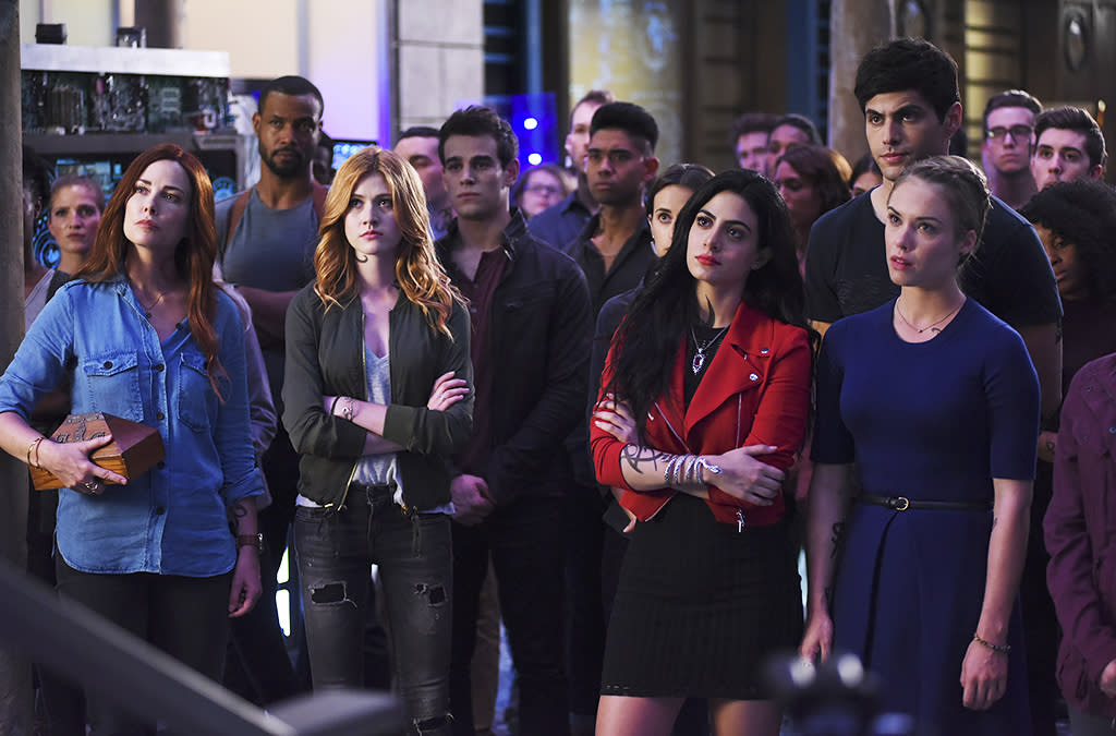 """<p><b>This Season's Theme:</b> Internal conflicts form among the Shadowhunters, """"between the old establishment and our characters' fresh and new way of seeing things,"""" says co-executive producer Darren Swimmer. <br /><br /><b>Where We Left Off: </b> After getting his hands on the Mortal Cup, Valentine (Alan Van Sprang) began building his army of Shadowhunters. He then threatened to kill Clary (Katherine McNamara) and the others unless son Jace (Dominic Sherwood) joined him, so Jace chose to leave to save his friends. Clary found the Book of the White and used it to wake and reunite with her mom, Jocelyn (Maxim Roy). <br /><br /><b>Coming Up: </b> Season 2 begins with the search for Jace, whose """"loyalties are absolutely going to be put through the ringer,"""" Swimmer teases, """"because Valentine is his dad and what he's saying is ringing true for him."""" And fans of the books will be happy to learn that Season 2 will introduce the Iron Sisters of the Citadel. <br /><br /><b>Brotherly Love: </b> Clary and Jace fans were heartbroken when the two were revealed to be siblings (though some are holding out hope that it isn't true). """"There's not much you can do when you have romantic feelings for your brother or sister,"""" Swimmer says. """"They're forced to focus on the immediate problems in front of them."""" And then there's Simon (Alberto Rosende), still pining away for Clary. """"Simon and Clary's relationship has a lot of deep roots and a lot of history,"""" he notes. """"Definitely Simon is not giving up on any of that."""" <i>— Kelly Woo</i> <br /><br />(Credit: Freeform) </p>"""
