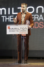 <p>Ryan Gosling wore a rust-coloured suit at the Hamilton Behind the Camera Awards in Los Angeles USA. <em>[Photo: Rex]</em> </p>