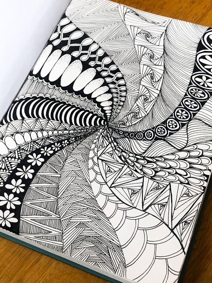 """<p>While sitting down and meditating  can be beneficial for relaxing the body and mind, if your thoughts are racing, something it's too difficult to calm them with mere deep breaths. Try meditative doodling called <a href=""""https://www.popsugar.com/fitness/what-is-zentangle-drawing-meditation-46934394"""" class=""""ga-track"""" data-ga-category=""""Related"""" data-ga-label=""""https://www.popsugar.com/fitness/what-is-zentangle-drawing-meditation-46934394"""" data-ga-action=""""In-Line Links"""">Zentangle</a> to focus your attention and allow your thoughts to settle. </p> <p>All you need is a black piece of paper and a pen and there are tons of <a href=""""https://www.popsugar.com/fitness/photo-gallery/46934394/image/46935173/How-Can-I-Learn-How-to-Zentangle"""" class=""""ga-track"""" data-ga-category=""""Related"""" data-ga-label=""""https://www.popsugar.com/fitness/what-is-zentangle-drawing-meditation-46934394#photo-46935173"""" data-ga-action=""""In-Line Links"""">free videos online</a> you can learn from.</p>"""