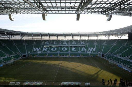 The interior of the municipal stadium in Wroclaw